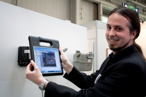 Marco Lierfeld demonstrates meter reading by motion tablet